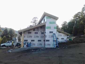 East elevation with tyvek and facia