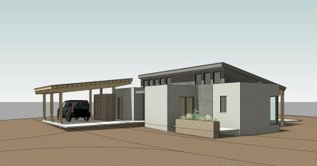andersen residence_thumbnail sketch - 3d view - 3d-ext-se from driveway